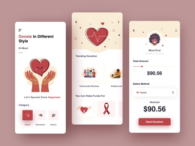 Donation App Concept app design cards white medical red card cards ui web development comapny web development design ux ui app web figma freebie free health blood donation