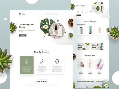 Skyla Beauty Products Website pot flowers web develop web design application app icon ux app app ui web page ui branding logo illustration web development design web freebie free figma