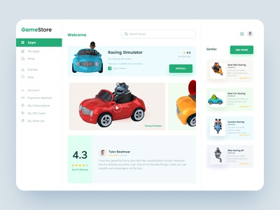 Toy Store Dashboard Design card ux cards ui cards freebie free web development web development company web website reviews wish list gift card my subscription payment method account shop my apps apps application game store