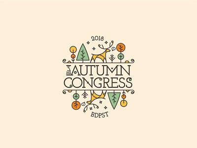 Autumn Congress – Logo design logotype monolinear autumn orange green yellow logo design logodesign monoline logo logo monoline