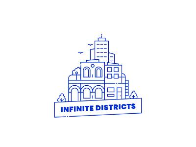 Infinite Districts – Logo design icon branding vector logotype monolinear monoline logo monoline logo design logodesign logo