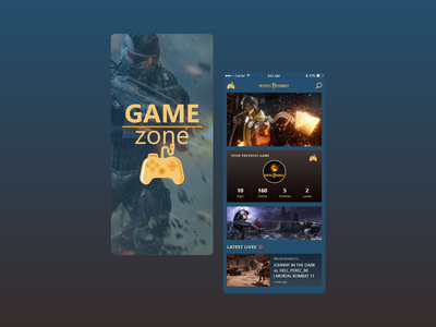 App Design: Concept Game Zone mobile application mobile ui yellow design ui creative mobile app mk11 blue mobile app design ui design branding alexltg ui ux design