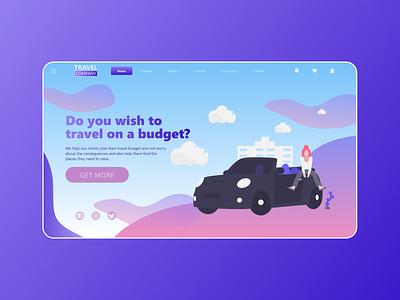 UI/UX Design: Travel Company vector travel creative design illustration blue alexltg website branding webdesign ui ux design ui design