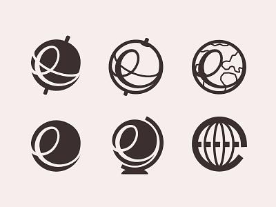 'E' + Globe Brandmark logo brandmark planning round trip discover destination travel