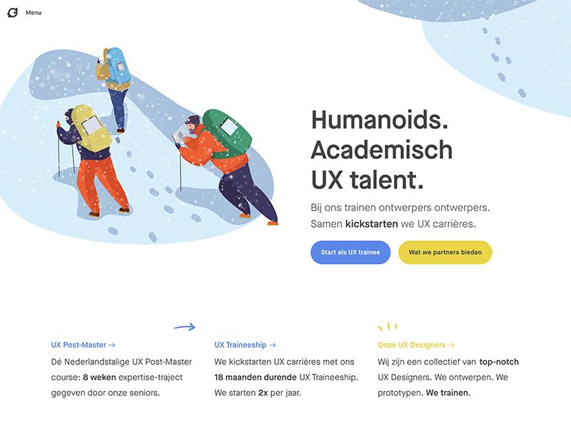 Humanoids Website webdesign startup ux traineeship