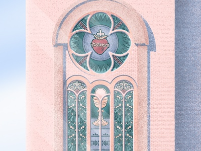 Stained Glass structure illustration graphic design church christianity christian catholic building