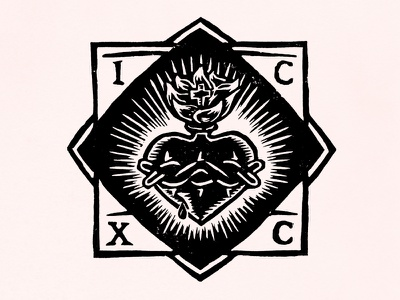 Sacred Heart Of Jesus thorns crown cross christian catholic heart sacred jesus illustration woodcut linocut