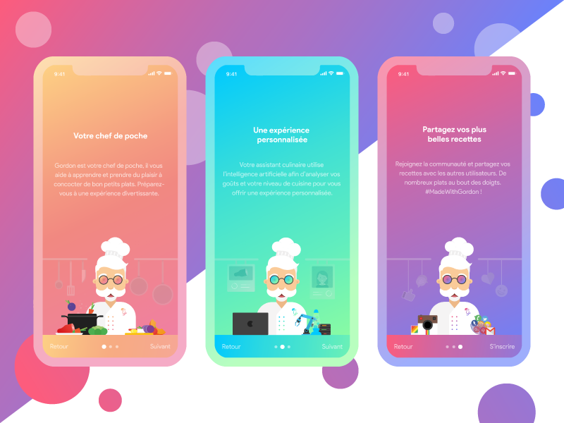 Gordon - Onboarding cook cooking gradient adobexd ux onboarding illustration design app