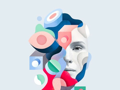 Persona Non Data by Mathieu Clauss illustrator création affiche forme data portait illustration