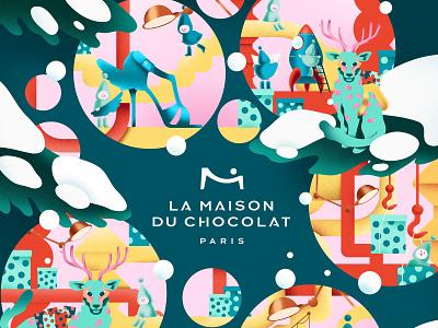 La Maison Du Chocolat design illustrator box chocolate christmas graphism illustration