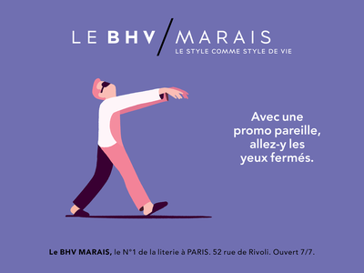 Bedding Campaign for BHV Marais characters affiche illustrator bed humor campaign illustration