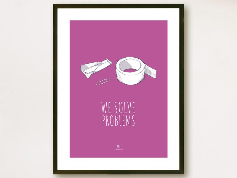 Poster: We Solve Problems poster print vector illustration