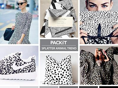 Packit Trend Board: Splatter Animal Trend layout mood board board trend trend board