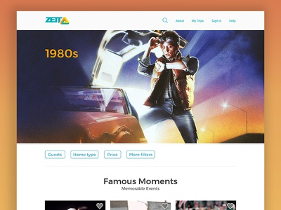 Zeit Time Travel Agency - 1980s visual design user interface time travel landing page ux ui concept web company