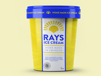 RAYS ICE CREAM TUB clean design packaging design package design packaging typography logo branding