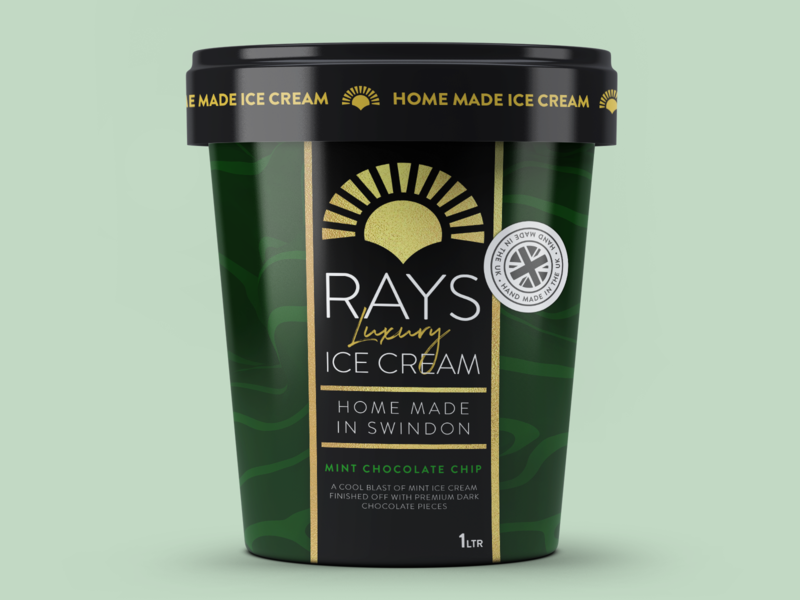 RAYS LUXURY ICE CREAM packaging design typography packaging logo ice cream gourmet luxury premium fresh dribbbleweeklywarmup design tub cup company business branding