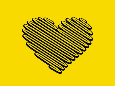 Heart shape on yellow illustration design decor vector beautiful icon symbol logo black yellow shape heart