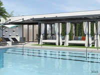 Miami Pool Area 3d Rendering