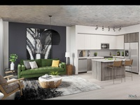 Miami Apartment 3D Rendering (Living & Kitchen Area)