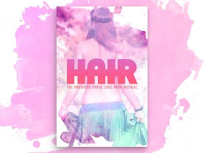 Hair Poster hippie retro splatter paint hair musical theater tie-dye poster