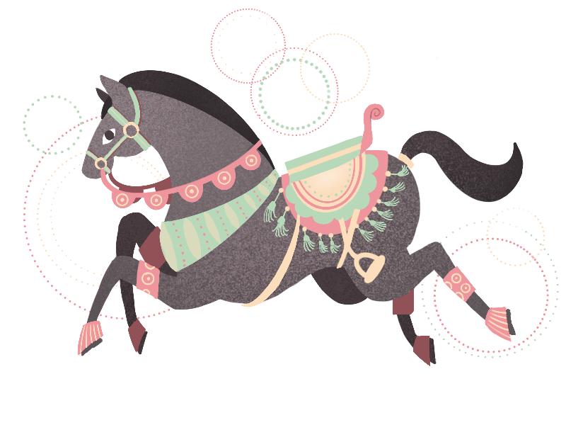Jumping horse texture noise flat design animal saddle pony graphic gray illustration horse