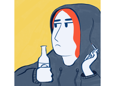 The Teenager youth sister redhead lifestyle yellow graphic design illustration hoodie alcohol drugs teenager procreate flat