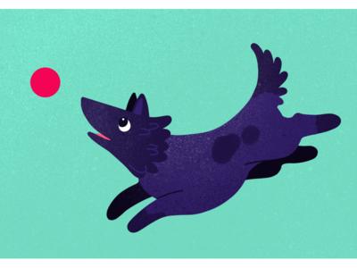 Pup creative texture flat graphic design illustration play green purple ball dog