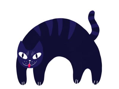 Cat flat kitty design procreate illustration graphic feline purple cat
