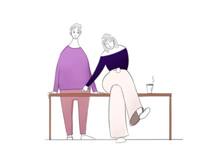 Critique magazine texture flat line social people table procreate relax graphic illustration
