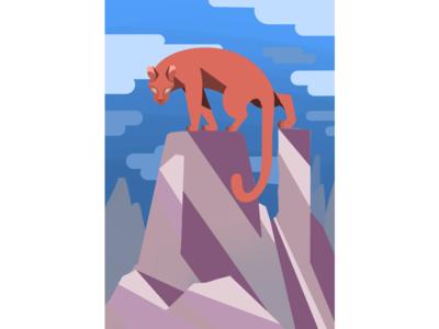 The Mountain Lion animal landscape rock clouds scenery mountain big cat line flat design graphic cat illustration