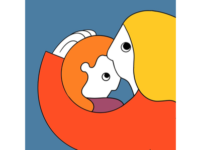 Protector composition narrative yellow red orange cold warm procreate design illustration