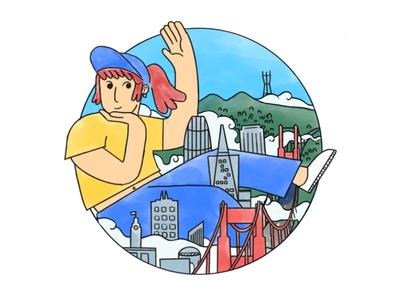 San Francisco - Sister Cities digital procreate paint gouache line simple girl skyline city san francisco illustration design