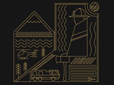 Fire Department illustrator vector minimalism line graphic design flat illustration