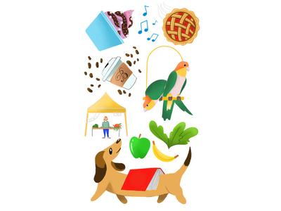 My Favorite Things dog animal procreate minimalism texture line graphic flat design illustration