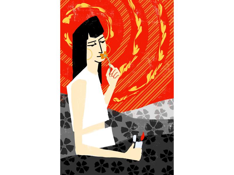 Burn the Superbloom instagram girl gray red concept texture procreate graphic flat design illustration