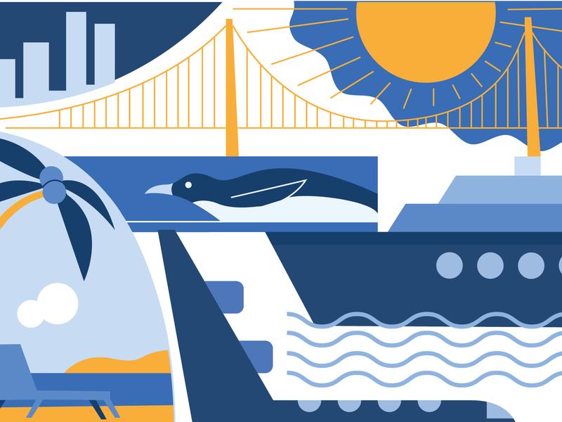 Travel Postcard minimalism modern branding vector blue line flat graphic design illustration