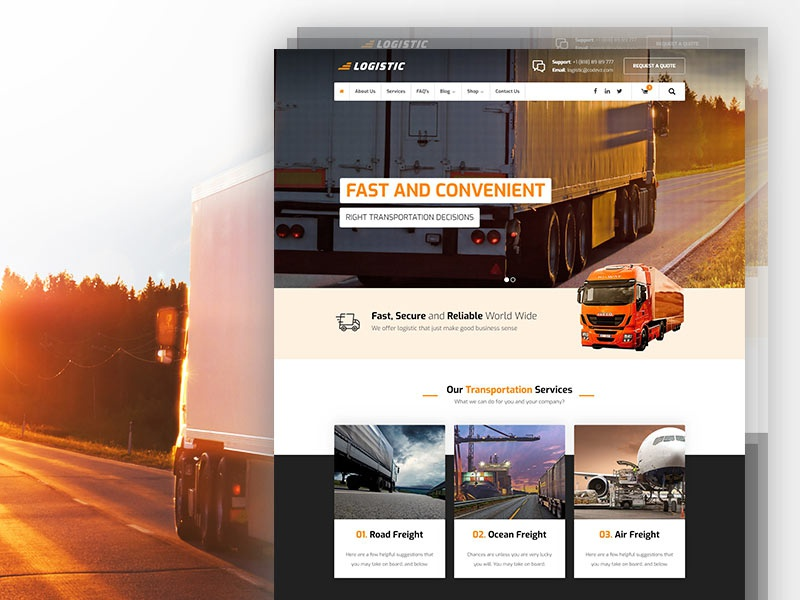 Logistic Transportation modern truck road layout template ui wordpress transportation logistic