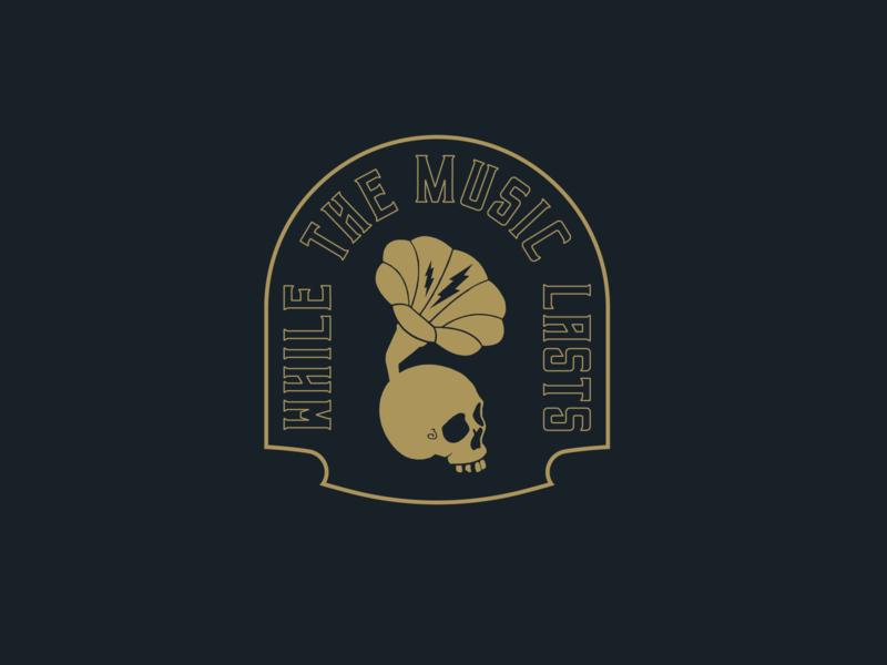 While the Music Lasts flat skull music art dark vector illustration design