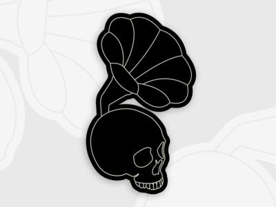 Gramoskull music dark simple art skull flat branding vector logo design illustration