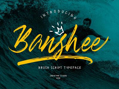 Banshee Brush Script paintbrush sign stylist marker ligature handmade swashes logo handlettering urban handwritten brush