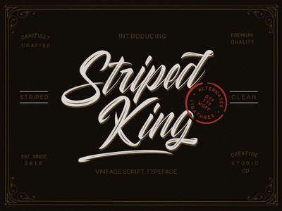 Striped King Vintage Script retro stylist vintage ligature handmade swashes logo handlettering urban handwritten branding