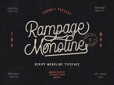 Rampage Monoline Script swashes elegant ligature handlettering stylish script handwriting casual branding logo handwritten