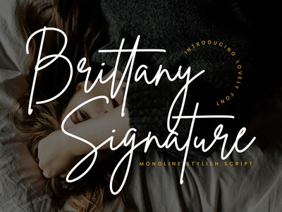 Brittany Signature Script free ligature handlettering stylish elegant fashion script handwriting branding logo handwritten