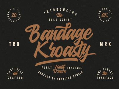 Bandage Kroasty Script elegant stylish brush retro vintage branding signature typography logo fashion natural casual script handwritten handwriting
