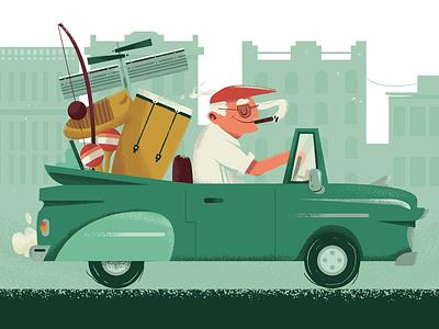 Cuban linx illustration vintage classic cars fania salsa la habana cuban