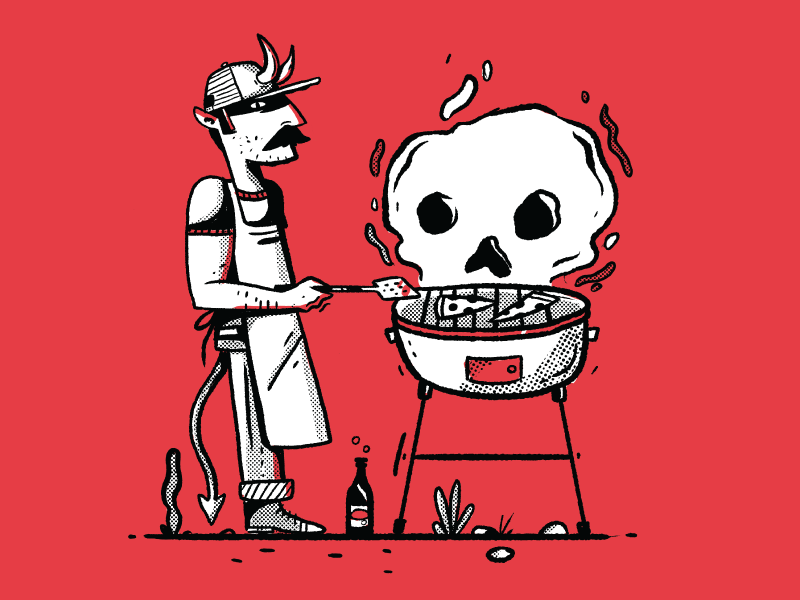 devil's bbq monterrey cholula illustration halftone devil saturday grilling bbq