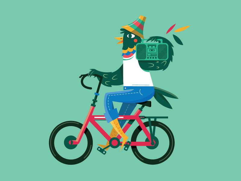 La Vida es Mejor en Bici rodante ride panamerican latin latino boombox bicycle bike bird character design
