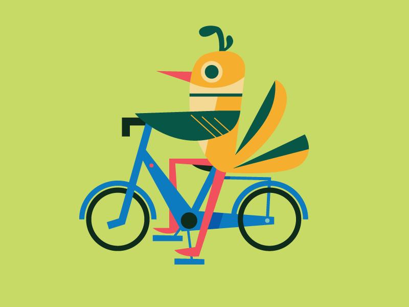 bike bird no. 2 character design geometric organic mexico illustration design bird bicycle bike