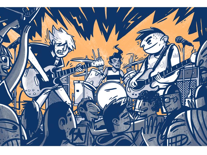 Nido De Serpientes punk rock band rock and roll comic book art risograph
