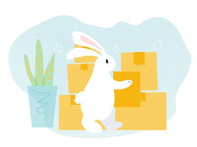Moving Season boxes moving design rabbit illustration